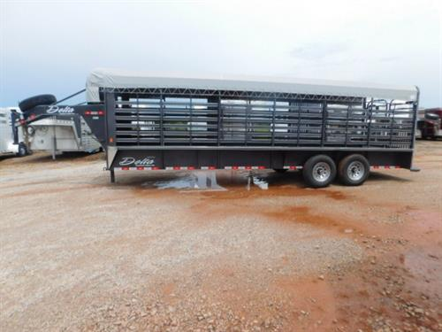 "AD#9776 2016 Delta GN 6'8""X24'X6'6"" Cattlemen 600 w/2 Slam Latch Center Gates for 3-8ft Compartments, 2-7,000 Lb Dexter Rubber Torsion Axles, 235 R16 10Ply Radials & Spare, Double Rear Butterfly Gates, Front Full Escape Door, 1""X3"" Tubing Sides, LED Lights, 4ft Rubber Cleated Rear Safety Floor. Sug Selling $13,970.00 Sale Price $10,200.00"
