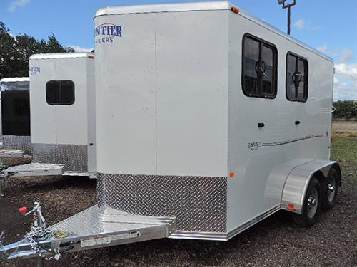 AD#0757 2016 Frontier Strider Series 2H BP w/White & Grey Graphics, Tack Room Located In Front w/Step, 2 Tier Collap. Saddle Rack, Bindle Hooks, Blanket Bar, Brush Tray, Floor Level Spare Tire Mount, Padded Air-Flow Divider