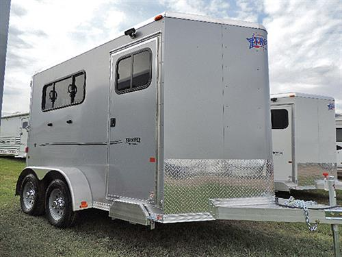 "AD#11613 2017 Frontier Strider Series 2H Slant All Alumn BP 6'8""X11'X7' Silver w/Black Graphics, V-Nose w/Stone Guard, Front Tack Room w/2 Tier Removable Saddle Rack, Bridle Hooks, Brush Tray, Spare Tire Mount, LED Light w/Wall Switch"