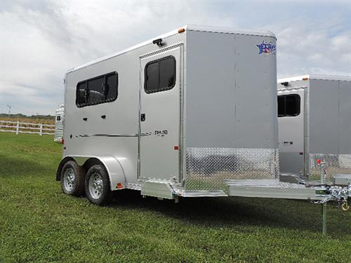 "AD#11597 2017 Frontier Strider Series 2H Slant BP 6'8""X11'X7' All Alumn Silver w/Black Graphics, V-Nose w/Stone Guard, Load Light On Rear & Tack Rm Door, Front Tack Rm Has 2 Tier Removable Saddle Rack, Bridle Hooks, Blanket Bar, Brush Tray, Spare Tire w/Mount, LED Light w/Wall Switch"