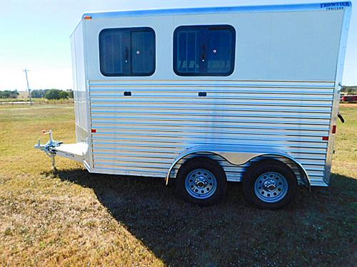"AD#11786 2017 Frontier Colt Series Combo BP 6'8"" X 12' X 7' 2 Horse V-Nose w/Gravel Guard, 2 Tier Removable Saddle Rack In Front Tack, Bridle Hooks, Brush Tray, Spare Tire Mount, LED Light w/Wall Switch, Load Light On Rear, Airflow Padded Divider, Full Width Rear Gate w/Plexiglass, 2 Drop Down Feed Doors w/Bars, Plexiglass Track w/Plexiglass On Rump Side, Lined Walls, Rubber Mats, 2 Roof Vents. Sug Selling $14,600.00  Sale Price $10,300"
