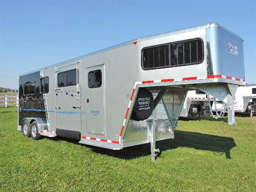 AD#11620 2017 Frontier Fast Track Series 2+1H GN 7'X22X7'6 All Alumn Straight Load Two Tone Silver/Black w/Blue Graphics, Stainless Steel Nose Wrap, GN Has 2 Sliding Windows w/Screens & Bars, Carpeted Floor & Drop Wall, 3 Tier Adjustable Saddle Rack, Bridle Hooks, Blanket Bar, Brush Tray, Walk Thru Door