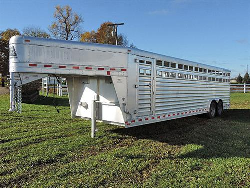 "AD#4633A 2014 Elite Stock GN 8'X28'X6'6"" This Trailer Has A Tapered Nose, Escape Door On Driver Side, 2 Air Gaps w/Plexi Glass Tracks Dwn Both Sides Of Trailer, Running Bar Dwn Passenger Side, 2 50/50 Solid Rear Doors, 1 Full Swing/Half Slider Center Gate w/Slam Latch, Compartment In GN, Diamond Plate Floor, Interior LED Lights, Brand New 235/75 R17.5 14 Ply Radials, Crank Jack. Sale Price:24,500.00"