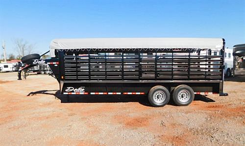 "AD#9778 Delta Cattleman 600 GN 6'8"" X 20' X 6'6"" Canvas Top, 1 Slam Latch Center Gate, Makes 2 Equal Compartments, Full Width Rear Gate W/Half Slider, 2-7,000 Lb Axles, Full Escape Door, Treated Wood Floor, LED Lights, 1""X3"" Tubing Sides, 235/80 R16 & Spare. Sug Selling $11,621.00  Sale Price $9,100.00"
