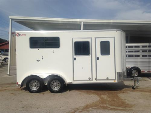 "2017 Kiefer (2) horse straight load bumper pull trailer with a tack room that has a (2) tier removable saddle rack, bridle hooks, brush box and a camper door. The horse area has an interior height of 7'6"" tall x 7' wide x 16' long, (2) escape doors, insulated roof, (2) roof vents, removable divider, head shield, rubber lined & insulated walls and a rear ramp with dutch doors!"