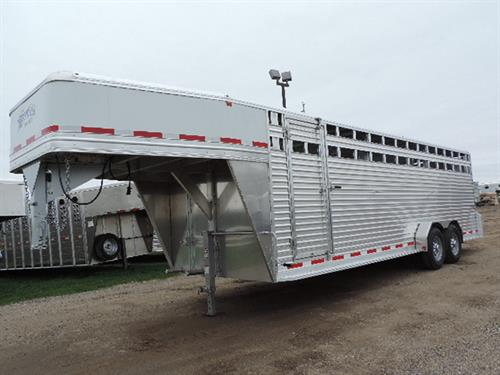 "#13871 2017 Frontier GN 7'x24'x6'6"" tall stock, all aluminum with fully integrated frame, one piece aluminum roof with hd radius extrusion, extruded aluminum floor, 4"" I beam, 2 air gaps with plexi glass tracks, LED bullet lights, 7000 lb Dexter torsion ride axles, 235 R16 10 ply radials, rear rubber bumper, plus HD corner dock bumpers, 2 slam latch center gates with half sliders, full swing rear gate with half slider on rollers and 5 hinges, double LED tail lights, 3 interior lights"