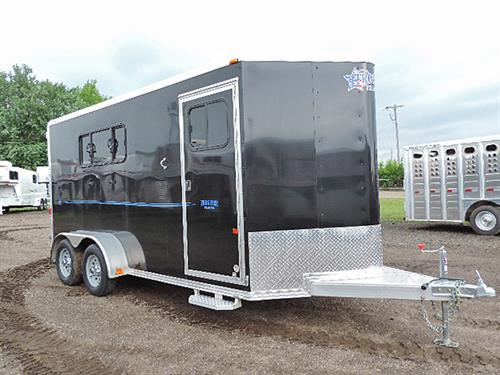 "#10738 2017 Frontier Strider Series 3H Slant BP 7'x15'x6'8"" All alum black w/graphics, V-Nose w/Stone Guard, Load Light On Rear & Tack Rm Door, Front Tack Rm Has 3 Tier Removable Saddle Rack, Bridle Hooks, Blanket Bar, Brush Tray, Spare Tire w/Mount, LED Light w/Wall Switch, Horse Area large drop down window w/fold down bars rump wall"