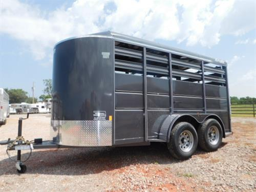 "AD#42436 2017 Delta BP 6' X 14' X 6'6"" 500ES Stock, Escape Door, Full Width Rear Gate W/Half Slider, Slam Latch Center Gate, Treated Pine Floor, LED Lights, 2-3500 Lb Spring Axles, 225/75 R15, Spare Tire Mount. Sug Selling $6,015  Sale Price $4,490"