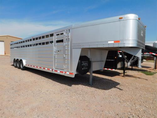 AD#8561 2017 Platinum GN 8' X 32' X 7' Stock, 3 Slam Latch Cut Gates W/Half Sliders - Makes 4 Compartments, Escape Door, Double Tail Lights, Butterfly Rear Gates, Plexiglass In 1st Compartment, Drop Down Calf Gate, Diamond Tread Floor, 3-7,000 Lb Axles, 14 Ply Radials + Spare. Trailer Is In Like New Condition! Trailer Has Been Serviced & Ready To Go! Financing & Delivery Available! Sale Price $22,900