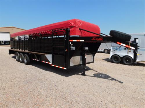 "AD#42350 2017 Delta GN 6'8"" X 28' X 6'6"" 600 Cattleman Canvas Top, Slat Sides, HD Butterfly Rear Gates W/6' Opening, 2 HD Slam Latch Center Gates, Makes 3 Compartments, Full-Lifetime Rubber Cleated Floor, Double Tail Lights, LED Lights, 3-8,000 Lb Axles, Electric/Hydraulic Brakes, Escape Door, Gravel Guard. Financing & Delivery Available! Sale Price $14,500  *Demo*"