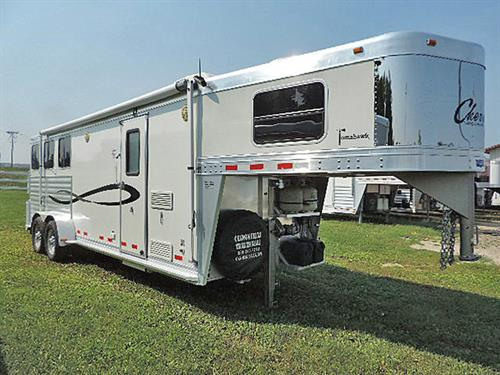 "AD#2931A  2009 Cherokee Tomahawk 3H GN 8' LQ 6'8""X22'X7', Sofa Sleeper, 2 Burner Stove, 3 cu Refg, Microwv, TV, AM/FM/CD Player, AC, Ducted Furnace, Pocket Door, Shower w/Glass Door, Separate Stool, Lg Linen Clost, Electric Jack, Awning, Walk-Thru Door, Escape Door w/Drop Dwn Feed Door & Fold Dwn Bars, Padded Dividers, Collaps. Rear Tack, 3 Tier Saddle Rack, Alumn Bridle Hooks & Brush Tray, Stud Divider w/Rubber on Both Sides.  This Trailer Is In Mint Condition!  Sale Price $27,900.00"