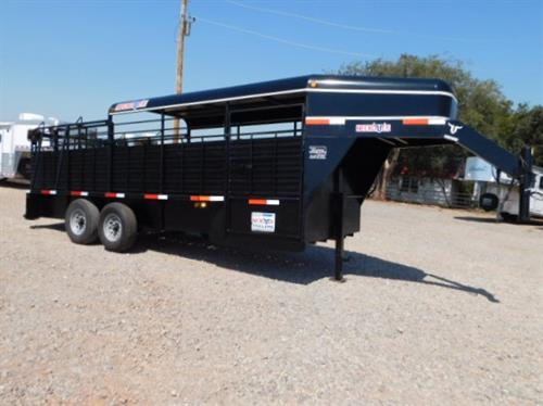 """AD#3597 2014 Neckover GN 6' X 20' x 6'6"""" Metal Half Top Stock W/Bullet Nose, Full Width Rear Gate W/Half Slider, Slam Latch Center Gate W/Half Slider, Escape Door, Full Rubber Cleated Floor, Slat Sides, Drop Down Calf Gate, 2-7,000 Lb Axles, 235/80 R16 12Ply Tires. Trailer Has Been Serviced & Ready To Go! Sale Price $7,900"""