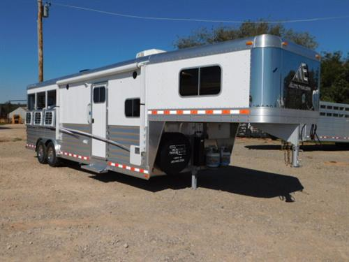 "AD#17498 2018 Elite Mustang GN 8' X 25' X 7'6"", 3 Horse W/10'8"" LSR Conversion, Solid Knotty Alder, Dinette, Soft Touch Walls & Ceiling, Double Stainless Steel Sink, Recessed 2 Burner Stove, Microwave, 6 Cu Fridge, Ducted AC, Ducted Furnace + Heat Strip, 24"" TV, AM-FM-CD-DVD Stereo, Inside Speakers, Outside Speakers, Roll Up Screen Door, 2 Hat Racks, Large Wardrobe W/Pull Out Dresser Doors, Radius Shower, Toilet, Hanging Closet, Vanity W/Stainless Steel Sink"