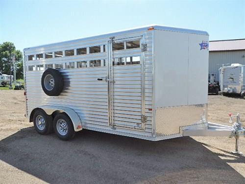 "Ad#14583  2017 Frontier Stock, BP, 7'x16'  White,  V-Nose w/24"" Stone Guard, Alumn. Frame, LED Lights, Two Air Gaps, Center Gate, Tracks For Plexi-Glass, Full Swing Rear Gate w/Sliding Calf Gate, Swinging Center Gate w/Slam Latch, Elevated Spare Tire Mount."