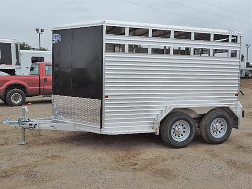 "Ad#14629   2017 Frontier Stock, BP, 7'x12'   Black, V-Nose w/24"" Stone Guard, Alumn. Frame, LED Lights, Two Air Gaps, Center Gate, Tracks For Plexi-Glass, Full Swing Rear Gate w/Sliding Calf Gate, Swinging Center Gate w/Slam Latch, Elevated Spare Tire Mount"