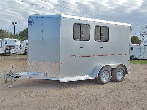 "Ad#15642  2018 Frontier Strider Series 2H Slant BP 6'8""X11'X7' All Alumn Silver w/Red Graphics, V-Nose w/Stone Guard, Load Light On Rear & Tack Rm Door, Front Tack Rm Has 2 Tier Removable Saddle Rack, Bridle Hooks, Blanket Bar, Brush Tray, Spare Tire w/Mount, LED Light w/Wall Switch, Floor Level Spare Tire Mount in Tack Room, Spare 15"" Silver Mod Wheel w/ 225/75R15 Tire ( 5-Lug), Rear Tack.   MSRP $17,400.00   Sale Price $13,399.00"