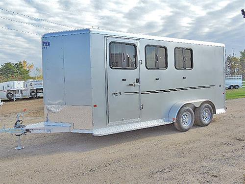 "Ad#15652  2018 Frontier Strider Series Combo/Slant 3H BP, 16'5"", Silver w/ Black Graphics, 2-5k Torsion Braked Axel, LED Load Light In Dress Rm & Rear Of Trailer, Air Flow Padded Dividers, Drp Dwn Windows w/Fold Dwn Bars, Roof Air Vents, Escape Door w/ Locking Bar & Drop Dn Feed, Removable Rear Tack,, Full Stud Divider, 3 Tier Removable Saddle Rack In Dress Rm, Floor Level Spare Tire Mount in Rear Tack, Spare 15' Silver Mod Wheel w/ 225/75R15 Tire (6-Lug)  MSRP $21,666.00   Sale Price $16,899.00"