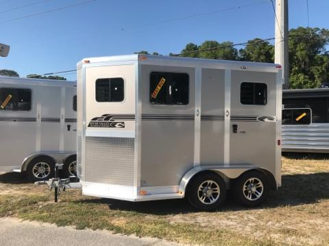 "NOW $13,900!!! 2017 River Valley Deluxe 12' (2) horse straight load bumper pull trailer with an interior height of 7'6"" tall x 7' wide x 12' long, (2) removable saddle racks, bridle hooks, insulated roof, electric fans, padded head protection, padded dividers, RUMBER FLOORING, removable divider and a rear ramp with dutch doors! The exterior has running boards, aluminum wheels and a spare tire."
