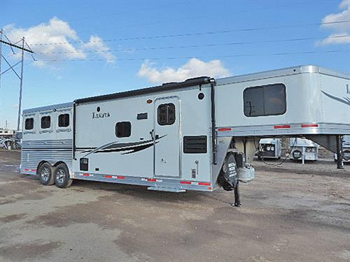 "Ad#87702  2014 Lakota C8311 Charger  3H GN  8'x26'x7'6""  11ft short Wall,  Hickory Wd Sofa, Rear Kitchen, Dbl Sinks, 6cu ft Ref., AC/Furn, Neo-Angle Shwr, Pwr Vent Van, Porcelain stl, Man. Awning, Hydraul Jack, 2 Batt.,  Walk-thru Door, Stud Divider 1st horse, Escape Door, w/Step, Grilled Dividers, Manger at 2 horse, Drp Downs w/ Grilled Guard, Drps on Butt Side, Fold Rear Tack, 3 saddle/brdle hooks, Brsh Tray, Horse area Lined & Insul., 40% - 60% Rear Doors, unload lites. Sale Price: $36,900.00"