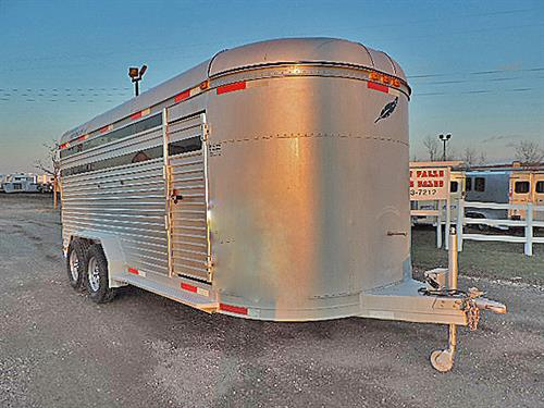 Ad#22985A  1991 Featherlite BP 7'x18'x6.5'  Econolite Aluminum Stock,  Escape Door, Slam-Latch Center Gate w/ Walk-thru Door, Full Open Rear Door w/ half Slider, New Tires.  Nice Clean Trailer.  Sale Price $5,900.00