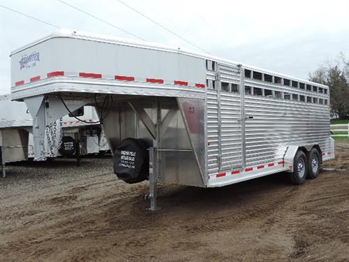 "Ad#16407 2018 Frontier GN 7'x20x7' Tall Stock, All Alum w/ full integrated frame, One pc Alum Roof w/HD Radius Extrusion, Extrud. Alum Flr. w/4"" I-beam, 2 air gaps w/Plexi Glass Tracks, LED Bullet Lites, 7000 lb Dexter Torsion Ride Axles, 235 R16 10ply Radials, Rear Rubber Bumper, plus HD Corner Dock Bumpers, Slam-Latch Center Gate w/ ½ Slider, Full Swing Rear Gate w/ ½ Slider on Rollers and 5 Hinges, Dbl LED Tail Lites, 3 Inter. Lights. Sugg. price $19,850.00 **SALE*PRICE** $14,995.00**"