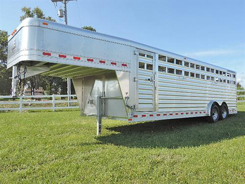 "AD#17762 2018 Elite Stock GN 8'X24'X6'6"", 2 Center Gates Has Full Open w/Slam Latches & Half Slider, Door On Rear Is Full Open Door w/Half Slider, Spring Loaded Jack, 7,000lbs Axels, 235/75 R16 10 Ply Radials, LED Extra High Turn Signals, 3 LED Dome Lights. Financing And Delivery Available. Sug. Selling $27,640.00  Sale Price $21,250.00"