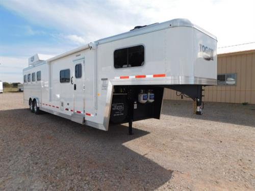 "Ad#6018 2018 Logan Limited 4 Horse GN 8' X 29' X 7'6"" Tall, 12Ft LQ, Solid Knotty Alder Wood, 6' Slide-out W/Sofa-Sleeper, 6 cu Fridge, Large Microwave, 2-Burner Stove, 19 TV-110Volt & 12 Volt, DVD, AM/FM/CD Stereo W/Inside & Outside Speakers, Ducted Furnace, AC, 60 gal Fresh Water Tank, 40 Gal Black & 40 Gal Gray Tanks, Double Kitchen Sink, Porcelain Stool, Neo-Angle Shower W/Glass Door, Vanity W/Sink, Large Double Hanging Closet W/Adjustable Shelves"