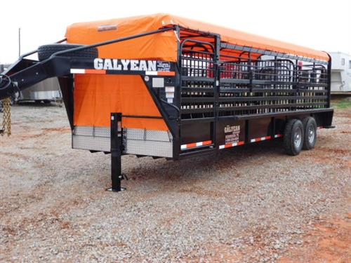 "AD#15066 2018 Galyean GN 6'8"" X 24' X 6'6"" Canvas Top Stock W/Uni Body Frame, 40"" Escape Door, Movable HD Cut Gate, HD Center Gate, Easy Open Slam Latch Handles, HD Butterfly Gate, Lifetime X-Lug Cleated Rubber Floor, Front & Rear Gravel Guard, DLX LED Lights, Interior LED Lights, Dupont Imron Paint Process W/Added Corrosion Inhibitors To Fight Rust, Resistant To Rock Chips & Scratches, Long Term Durability, 2-7,000 Lb Axles"