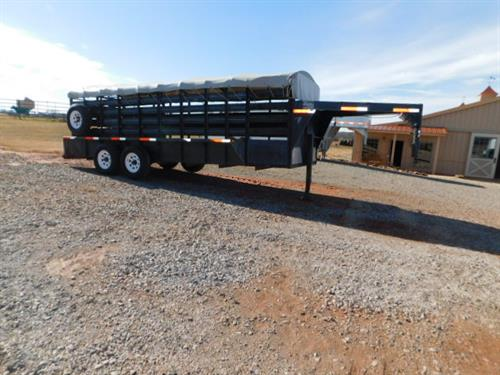 AD#1264 2010 Ponderosa GN 6x20x6 Canvas Top Stock, Full Width Rear Gate W/ Half Slider, Center Gate, Wood Floor, 2-6000 Lb Axles, 235/85R16, Trailer Has Been Fully Serviced & Ready To Go!!! Sale Price $4000.00