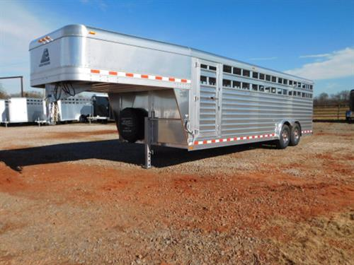 "AD#17889 2018 Elite GN 8' X 24' X 6'6"" Stock, 2 Center Gates W/ Half Slide, Makes 3-8' Compartments, HD Slam Latch, Full Width Rear Gate W/ Half Slider, Plexiglass Track, 2 LED Interior Lights, LED Outside Lights, 5 HD Hinges On Each Gate And Rear Door, Driver Side Escape Door, Drop Down Calf Gate, Diamond Tread Floor, 2-7000lb Axles, 16"" 10 Ply Radials W/ Simulators. Sug Selling $27,527.00 Sale Price $20,500.00"