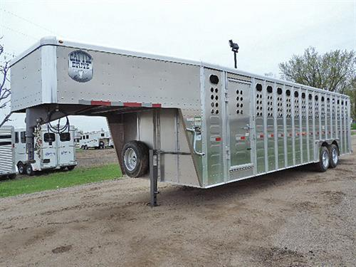 "AD#27006 2018 Merritt Cattle Drive Stock GN 8'X28'X6'6"", Dexter EZ Lube, 8,000 lb Axles, ST 215/75 R17.5 16 Ply, 2 Slam-Latch Center Gates, .050 One Piece Alum Roof, Alum Punched Panel .077 w/Riveted External Posts, HD Tear Drop Alum Fenders, Corrug. Rib Floor, I Beam-Heavy Web Fully-Welded Floor, Esc Door, Fold-Dn Calf Gate, All LED Lights, HD Full-Width Swing Rear Door w/Half Slider w/LW-90 Hardened Rollers That Are Not Affected By Road Chemicals. Sug. Selling $31,110.00 Sale Price $24,400.00"