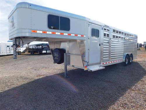 AD#17897 2018 Elite GN 8' X 24' X 7' Stock Combo White Skin, 4' Dress Room W/Fold Down Step, 4 Tier Saddle Rack, Carpeted GN-Drop-Floor, Bridle Hooks, 5' Cloth Rod, 20' Stock, HD Butterfly Rear Gates, 2 HD Slam Latch Center Gates W/Outside Quick Release, Diamond Plate Floor, Escape Door, LED Bullet Lights, LED Load Light Bar, Interior LED Lights, 8 Inside Ties, 8 Outside Ties, 2-7,000 Lb Axles, 235/85 R16 10Ply Radials + Spare. Sug Selling $33,218  Sale Price $25,350
