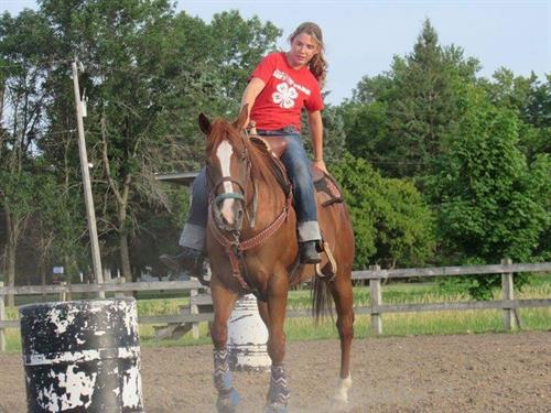 Clasic Malibu Barbie (Malibu) is a 2007 registered AQHA chestnut mare 15'2 hands. **VIDEO**  Barrel and pole horse. Great bloodlines!. Not buddy sour, no gate issues, does trails, good ground manner, good for farrier and vet, and will stand tied to the trailer all day at horse show without a fit.