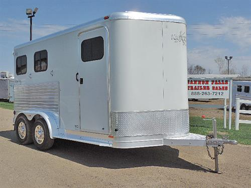"#42955   2002 Kiefer Genesis 2H BP 7'3""x15'x7'   All Aluminum, 2ft-6ft Dressing Room, V-Nose Camper Vent, Spare Tire, Camper Door w/Screen, Drop-Down Feed Doors w/ Fold-Down Bars, Slam-Latch Divider, Collapsible Rear Tack, 2-Post Saddle Rack,- Moveable to Dressing Room, Bridle Hooks, 40/60 Rear Doors w/ Windows, Double Tail Lights Roof Vents, Serviced and Ready-to-GO!   Trailer in Very Good Condition.  Financing and Delivery Available!   Sale Price $9,500.00"