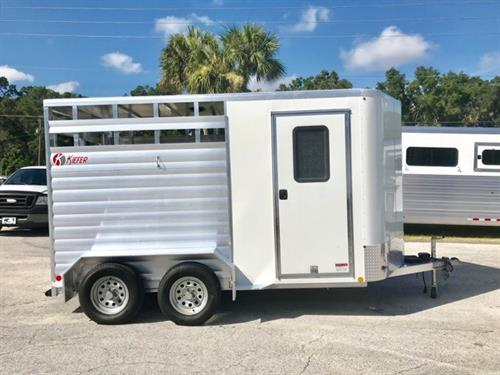 "(JUST REDUCED,  07/16/18)  2017 Kiefer (2) horse slant load bumper pull trailer with a tack room that has (2) removable saddle racks, bridle hooks and a camper door.  The horse area has an interior height of 7' tall x 7'2"" wide x 14' long, escape door, rubber mats over all aluminum floor, full swinging rear door with a half slider!  The exterior has two 3500lbs axles and a spare tire.  Like Brand New!"