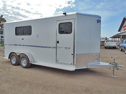 "#15651  2018 Frontier Strider Series Combo/Slant 3H BP, 16'5"", White w/ Black Graphics, 2-5k Torsion Braked Axel, LED Load Light In Dress Rm & Rear Of Trailer, Air Flow Padded Dividers, Drp Dwn Windows w/Fold Dwn Bars, Roof Air Vents, Escape Dr w/ Locking Bar & Drp Dn Feed, Removable Rear Tack,, Full Stud Divider, 3 Tier Removable Saddle Rack In Dressing Rm, Floor Level Spare Tire Mount in Rear Tack, Spare 15' Silver Mod Wheel w/ 225/75R15 Tire (6-Lug).  MSRP $21,666.00   Sale Price $16,899.00"