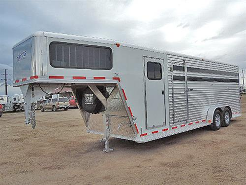 "#11143 2017 Frontier  GN 7'x24'x7' All Aluminum Stock Combo.  4Ft Dressing Room, Carpet, GN & Drop, Large GN Windows, 53""x19"" w/Bars, 4-post Saddle Rack, Bridle Hooks, Blanket Bar, Rubber Mats Floor of Dressing Room & Stock Area, Drop Gate at Nose, Escape Door, Slam-Latch Center Gate, Full Open Rear Door w/Half Slider, Plexiglass S/S, C/S & Rear Door, Stainless Steel Nose, Spare Tire.  Suggested  Selling $25,650.00   Sale Price $17,900.00"