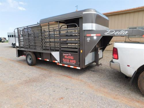 "AD#40425 2016 Delta 600 Ranch Hand GN 6'8"" X 16' X 6'6"" Half Top, Center Cut Gate - Makes 2 Equal Compartments, Escape Door, HD Slam Latch, Double Rear Doors W/Drop Pins, Lifetime Rubber Cleated Floor, Single Axle. Sug Selling $11,209  Sale Price $8,100 **DEMO**"