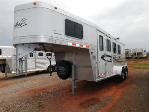 "AD#3509 2011 Cherokee Tomahawk GN 6'8"" X 17' X 7', 3 Horse W/3' To 7'6"" Dress Room, Movable-Removable (Front - Rear Tack) 3 Tier Saddle Rack, Bridle Hooks, Cloth Rod, Outlet, Carpeted GN-Drop-Floor, Camper Screen Door, Collapsible Rear Tack, Cloth Rod, Bridle Hooks, Brush Tray, Escape Door W/Large Window, 2 Drop Down Windows W/Fold Down Bars, Padded Dividers, Rubber Lined Walls, Floor Mats, 3 Roof Vents, Interior Lights, 2 Load Lights, Inside/Outside Tie Hooks"