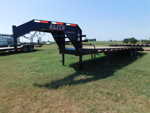 "AD#769 2018 Elite GN 102"" X 27+5 Dovetail, Dual Tandem 10,000 Lb Axles, Pierced Frame, Torque Tube, 2 Fold Up Deck Level Ramps + 30"" Pop-Up Ramp, Lid On Chain Tray, Treated Wood. Sug Selling $12,950  Sale Price $9,150"