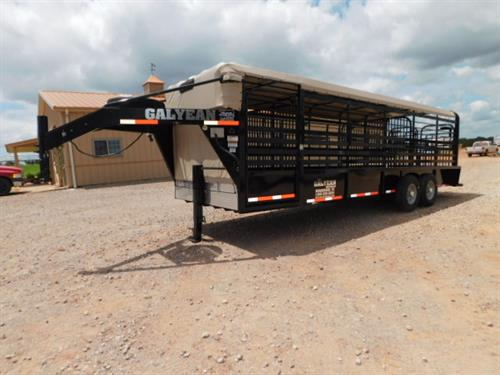 "AD#15235 2018 Galyean GN 6'8"" X 24' X 6'6"" Canvas Top Stock W/Uni Body Frame, 40"" Escape Door, Movable HD Cut Gate, HD Center Gate, Easy Open Slam Latch Handles, Butterfly Rear Gates, Lifetime X-Lug Cleated Rubber Floor W/1"" Spacing, DLX LED Lights, Interior LED Lights, Dupont Imron Paint Process W/Added Corrosion Inhibitors To Fight Rust, Resistant To Rock Chips & Scratches, Long Term Durability, 2-7,000 Lb Axles, Front & Rear Gravel Guard"