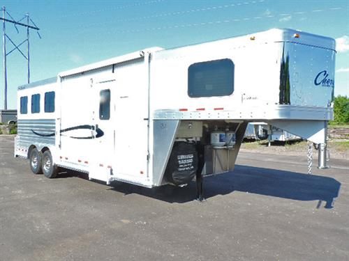 "#4128   2015 Cherokee Tomahawk  3H GN  8'x22'x7'6"" Tall, w/8ft Dream Catcher Sol Kntty Alder, Raised Panl Drs, Sofa-Slpr, Soft-Touch Walls & Ceil, Wstrn Hdwr Pkg, 2-Brnr Stv, 3.5 Cu Ref, Mwv, TV, AM-FM-CD Plyr, Neo-Angl Shwr w/Glss Drs, Van& Snk, Hyd Jack, Awn, Walk-thru Dr, Esc Dr, Drp-Dn Feed Drs w/ Fld Dn Bars, Stud Divide w/Rbr on Both Sides, Padd Divides, Collaps Rr Tck w/3-Pst Sdl Rk, Alum Brdl Hk & Brsh Tray, Stainless Stl Nose, S/S Simulators. TRAILER IS LIKE NEW!   Sale Price $39,900.00"