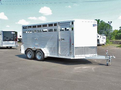 "#10151  2018 Frontier Livestock, BP  7'x16'7""x6'6""Tall, White, V-Nose, 5K Axle, 225/75R 15"" Tires, 1 Dome Light, Center Gate w/ Slider, Rear Gate w/ Slider, Rubber Dock Bumper.  Financing & Delivery Available.   ***Sale Price $10,900.00***"