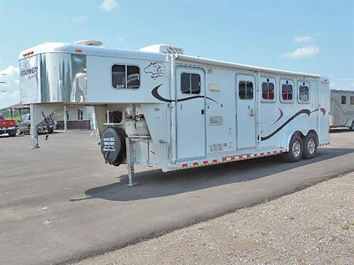 "#01168  2002 Sooner  Revolution, 4H GN 7'x24'x7' Tall, 7' Short Wall, Living Quarters, L-Bench Seat, 2-Burner Stove, Sink, Refrigerator, 2-110 Outlets, Radio, A/C, Microwave, Stool, Shower, Walk-thru Door to Horse Area, 21 ft. Awning, NEW Goodyear Wrangler Tires: 235/85 R16"" 10-Ply, New Brakes and Bearings.  This trailer is in EXCELLENT Condition!  Ready-to-GO!  Financing & Delivery Available.  ***Sale Price $17,900.00***"