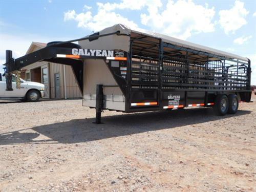 "AD#15310 2018 Galyean GN 6'8"" X 24' X 6'6"" Canvas Top Stock W/Uni-Body Frame, Full Width Rear Gate W/Half Slider, 40"" Escape Door, Movable HD Center Gate, HD Center Gate, Easy Open Slam Latch Handles, Lifetime X-Lug Cleated Floor W/1"" Spacing, DLX LED Lights, Interior LED Lights, LED Reverse Lights, Dupont Imron Paint Process W/Added Corrosion Inhibitors To Fight Rust, Resistant To Rock Chips & Scratches, Long Term Durability"
