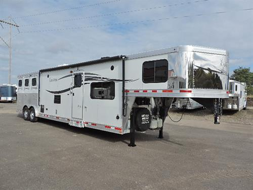 "#87922A  2014 Lakota Charger 3H GN  8'X29'X7'6"" Tall.  15' LQ w/6'Slide, Dinette, Sofa, Rear Kitchen w/2-Person Bar Area, Lg Refrig, 2-Burner Stove, Dbl Sink, Microwv, Vented Hood, Ducted A/C,  Dbl-Hang Closet, Vanity, Stool, Neo-Angle Shower w/Glass Door, Walk-thru Door, Stud Divider, Air-Flow Dividers, Lined/Insulated Roof in Horse Area, Folding Rear Tack w/ 3 Tier Saddle Rack, Bridle Hooks, 60/40 Rear Door***Sale Price $43,900.00***"