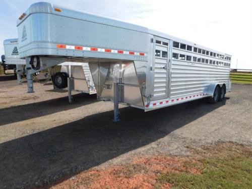 "AD#18509 2019 Elite GN 7' X 24' X 6'6"" DLX Stock, Full Width Rear Gate W/Half Slider, 2 Slam Latch Center Gates W/Half Sliders-Outside Release, Drop Down Calf Gate, Diamond Tread Plate Floor, 2 Interior LED Dome Lights, LED Double Tail Lights, 2-7,000 Lb Axles, 235/85 R16. Financing & Delivery Available! Sug Selling $26,985  Sale Price $19,500"