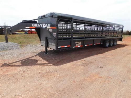 "AD#15314 2018 Galyean GN 6'8"" X 32' X 6'6"" Canvas Top Stock, Uni-Body Frame, 40"" Escape Door, 3 HD Cut Gates-HD Movable Front Cut Gate (4' To 8'), Easy Open Slam Latch Handles, HD Butterfly Rear Gates, Lifetime X-Lug Cleated Floor W/1"" Spacing, Front & Rear Gravel Guard, DLX LED Lights, 2 DLX LED Load Lights, DLX LED Reverse Lights, Dupont Imron Paint Process W/Added Corrosion Inhibitors To Fight Rust, Resistant To Rock Chips & Scratches, Long Term Durability, 3-7,000 Lb Axles W/HD Suspension"
