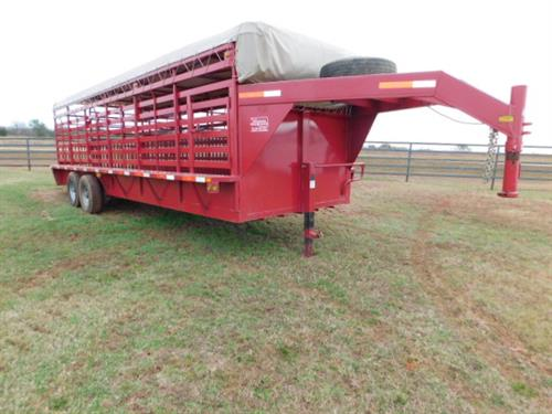 "AD#4746 2017 Top Hat GN 6'8"" X 24' X 6'6"" Canvas Top Stock, Full Width Rear Gate W/Half Slider, 2 Solid Cut Gates, 2-7,000 Lb Axles, 235/75 R16 + Spare. Trailer Has Been Fully Serviced & Ready To Go! Trailer Is In Excellent Condition! Sale Price $7,900"