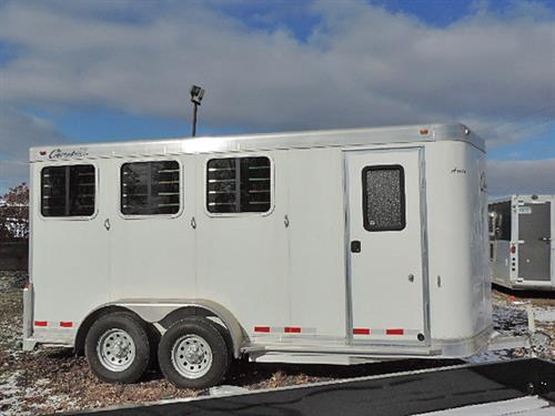 "#4139  2015 Cherokee Arrow 3 Horse BP 6'8""X14'X7' Tall Arrow, All Aluminum, White Skin, VNose, Camper Door w/Screen, Bridle Hooks, Blanket Bar, 3 Post Saddle Rack, Brush Tray, Drop Down Feed Doors w/Fold Down Bars, Lined Walls, Rubber Lined BHW Rump Wall & Rear Doors, Roof Vents, Padded Dividers, Rubber Mats, Lg Rump Wall Windows, Dble Rear Doors, Spare Tire.  Financing and Delivery Available.  Sug. Selling  $21,965.00  Sale Price  $14,900.00"
